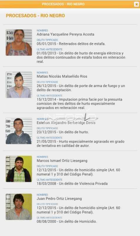 Inforio ltimos procesados en r o negro for Ministerio del interior telefono informacion